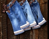 Girls Embellished Denim Jeans with Polka Dots & Flowers