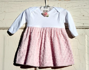 Pink Minky Dress for Baby Girls and Toddler Girls with Rosette