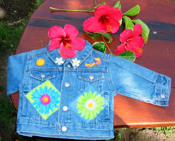 Girls Denim Jean Jacket with Bright Flower and Summer Appliques