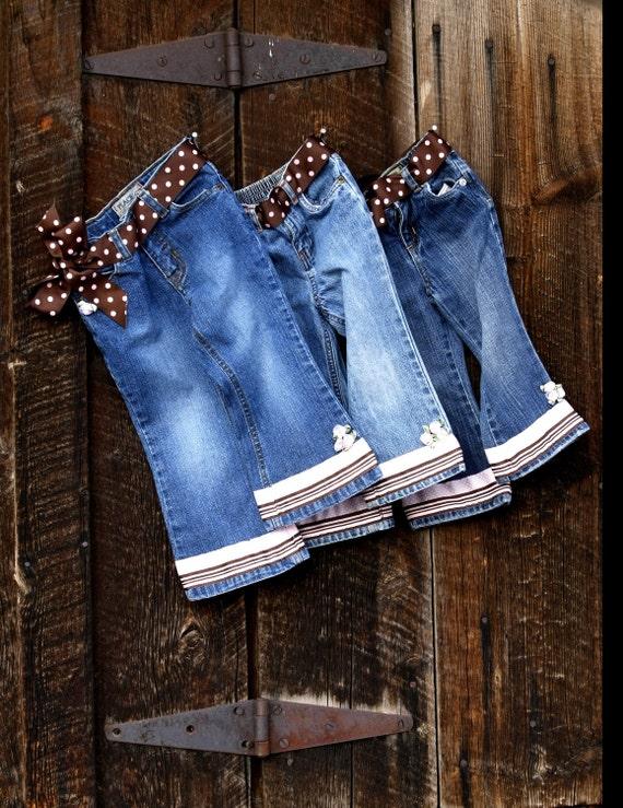 Girls Embellished Denim Jeans with Polka Dots & Flowers