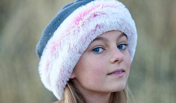 Girls Hat  Polar Fleece Grey with Pink Faux Fur Trim