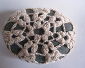 Crochet Covered Stone, Snowflake Bobbles Curious Pebble