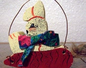 Wood Bunny sitting on a Carrot, Easter Decoration, Easter Bunny