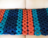 Afghan Crochet Persimmon, Dark Teal, Turquoise - 52 x 75 inches
