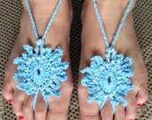Barefoot Sandals  Light Blue Beaded Pearl Crochet, Beach wear, Wedding, Victorian, Lace, Sexy, Yoga, Pool