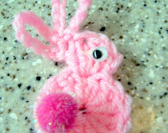 Bunny Rabbit  Pin in Pink with Pink Tail