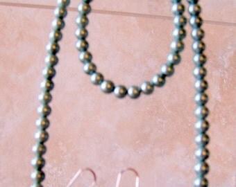 Pearl Necklace Bracelet Earrings Set, Handmade
