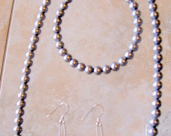 Pearl Bracelet and Earrings Set - 6mm Round Pearl Set - 20 inch Necklace, Light Grey