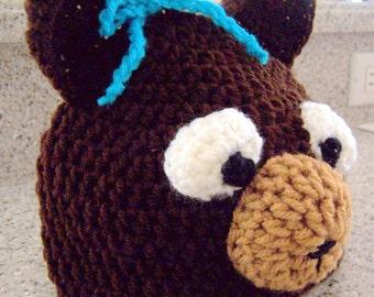 Bear Hat Crochet Beanie - Fits 4 - 8 year olds