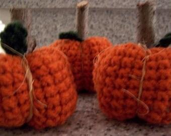 Pumpkins Crocheted with Wood Stems Crochet - 3 piece set