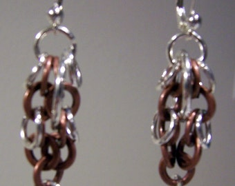 Chainmaille Earrings - Bright Aluminum and Copper - Lever Back -  2 inches long