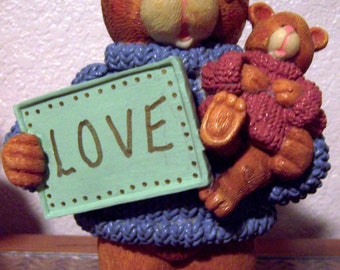 SALE - 4 dollars off - Ceramic Teddy Girl Bear with Saying - LOVE