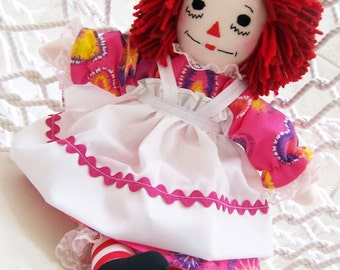 Raggedy Ann Doll Pink  15 inch - Handmade, Fabric Doll, Baby First Doll, Can be Personalized