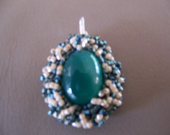 Dark Green Aventurine Pendant with sterling silver bail and Seed Bead Collar
