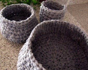 Chicken Egg Basket Trio, Baskets - Crochet Baskets - Fabric Blue Home Decor - 3 basket set