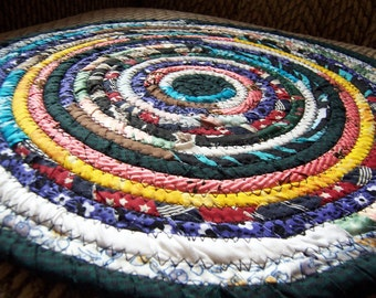 Bohemian Trivet, Hot Pad, Plant mat, Candle Mat Coiled - 13.5 inches Green, Yellow, Purple, Turquoise, Red, Blue