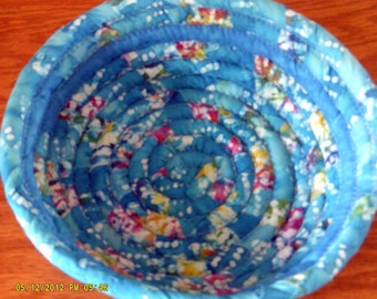 Handmade Coiled Fabric Cotton Batik Basket or Bowl - turquoise - Chicken Egg Collection