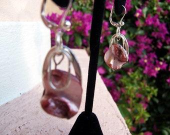 Pink Shell Dangle Earrings