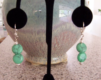 Turquoise and Silver Bead Earrings with Lever Backs