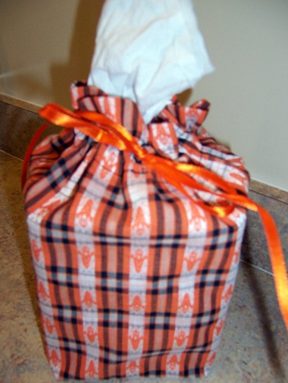 Tissue Cover Orange Plaid with Ghosts Fabric