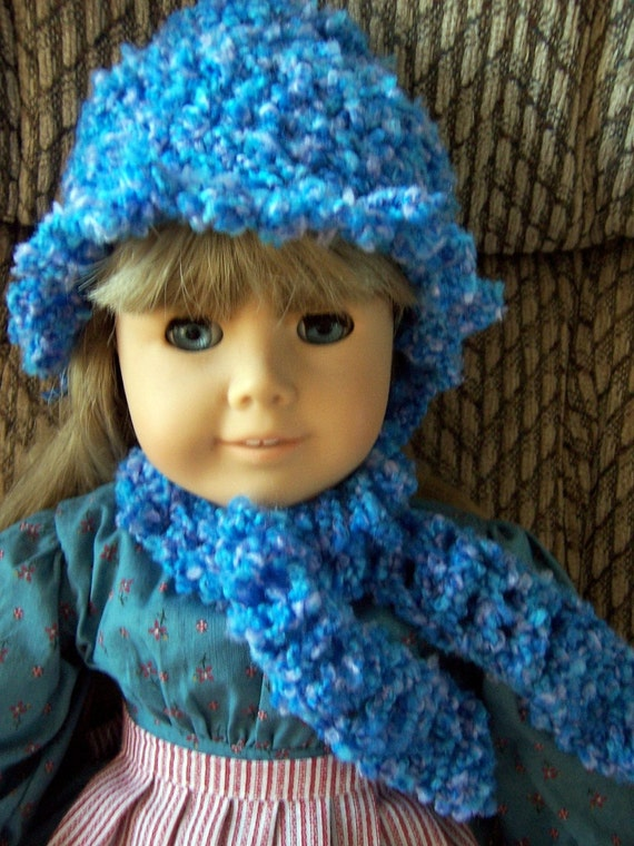 18 inch Doll Crochet Hat with Ruffle Trim and Scarf - Blue