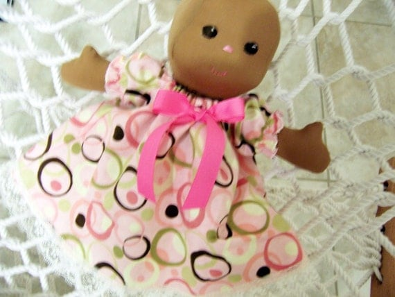 Brown Skin Baby Doll - Sew Sweet Baby Jessica Doll with Brown Skin - Fabric Doll - 13 inches tall Handmade
