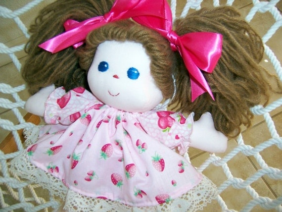 Additional outfits and personalization ... Sew Sweet Strawberry Doll - 13 inches tall with flannel nightgown