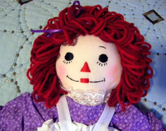 Special Order for Laura Raggedy Ann Doll in  Lavender, nightgown and Rush Order- Handmade