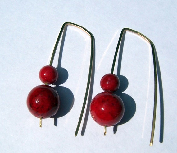 Earrings - Red Genuine Coral Modern Style Earrings 14 k Gold-filled - Free shipping