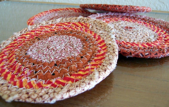 Coiled Baskets and Mats - Coasters (4) Hot Pad, Trivet, Plant, Candle Mat Coiled in Burnt Orange - 4.5 inches