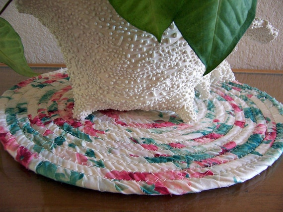 Coiled Baskets and Mats - Hot Pad, Trivet, Plant, Candle Mat Coiled in  - 12 inches Green, pink and cream