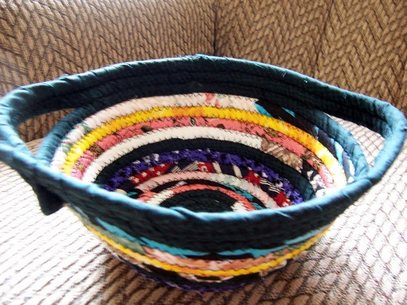 Bohemian Multi-Colored Coiled Fabric Basket with Side Handles - 9 inches across,3.75 inches high