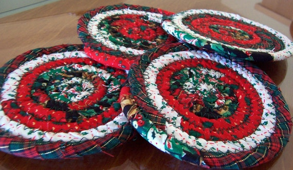 Coasters, Mug Rugs, Centerpiece, Holiday Home Decor, Christmas Decoration - 4.75 inch Coasters Set of 4