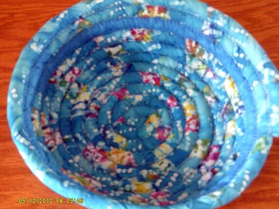 Handmade Cotton Baskets : Handmade chicken egg basket coiled fabric cotton batik