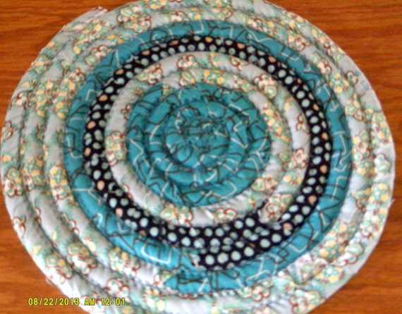 Trivet, Hot pad - Just Turquoise and Brown 10 inch diameter Handmade Hot Pad, Trivet, Plant, Candle Mat Coiled