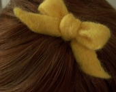 Yellow Felted Bow with Comb