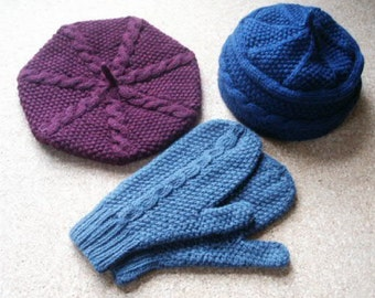 pdf pattern for Aran Weight Beret Set by Elizabeth Lovick - instant download
