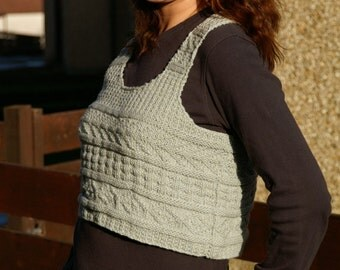 pdf pattern for a Short Tank in aran weight yarn by Elizabeth Lovick - instant download