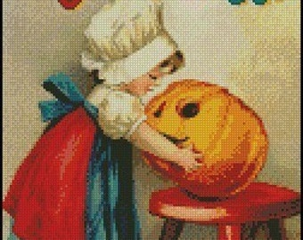 VINTAGE MERRY HALLOWEEN cross stitch pattern No.53