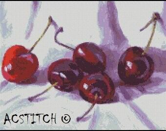 FIVE CHERRIES cross stitch pattern No.587