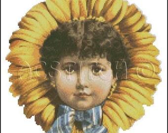 VINTAGE CHILD FLOWER cross stitch pattern No.406