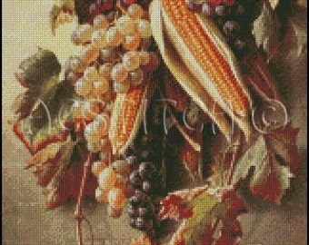 GRAPES AND CORN cross stitch pattern No.438