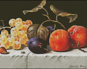 Still Life with FRUITS and NUTS cross stitch pattern No.217