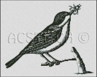 VINTAGE BIRD   cross stitch pattern No.572