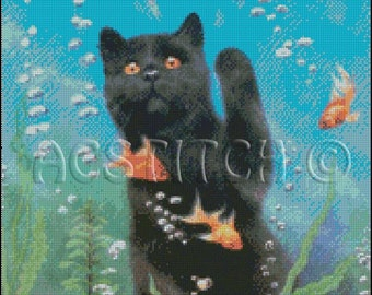 CAT and GOLDFISH cross stitch pattern No.186