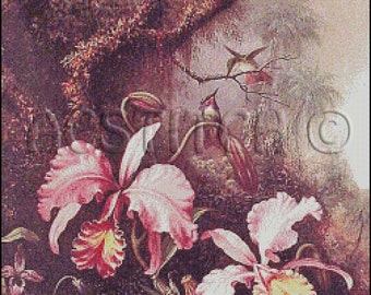 ORCHIDS AND HUMMINGBIRDS cross stitch pattern No.78