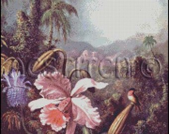 ORCHID AND HUMMINGBIRD cross stitch pattern No.81