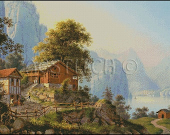 VIEW OF LAKE  cross stitch pattern No.361