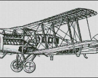 VINTAGE AIRPLANE cross stitch pattern No.339