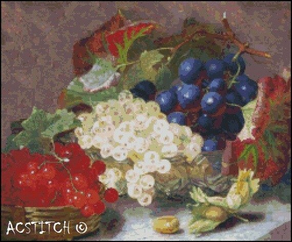 A Still Life With Berries and Grapes cross stitch pattern No.586
